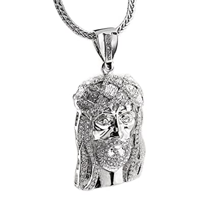 Jesus Piece Pendant Silver Tone Face Head Iced-Out 36 Inch Long Franco  Necklace Hip 7b7656f3ec56