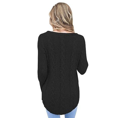 AN-LKYIQI Jersey de punto suéter de otoño invierno Elegante cuello redondo suéter de manga larga Chic Cuff Split: Amazon.es: Deportes y aire libre