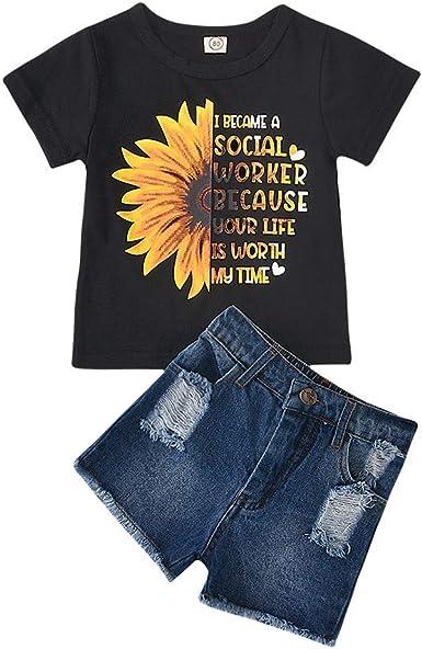 3Pcs Toddler Girls Letter Print Sunflower Vest Tops T-Shirt+Denim Shorts Pants Outfits+Headband Outfits