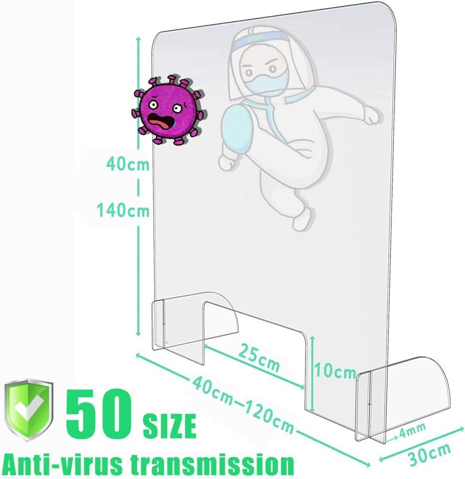 ROBAG Mampara Protector Mostrador Metacrilato, Pantalla Flexible, Adaptable y Portátil con escotilla contra la infección, Tablero de Mesa Antibacteriano, 40x60cm: Amazon.es: Hogar