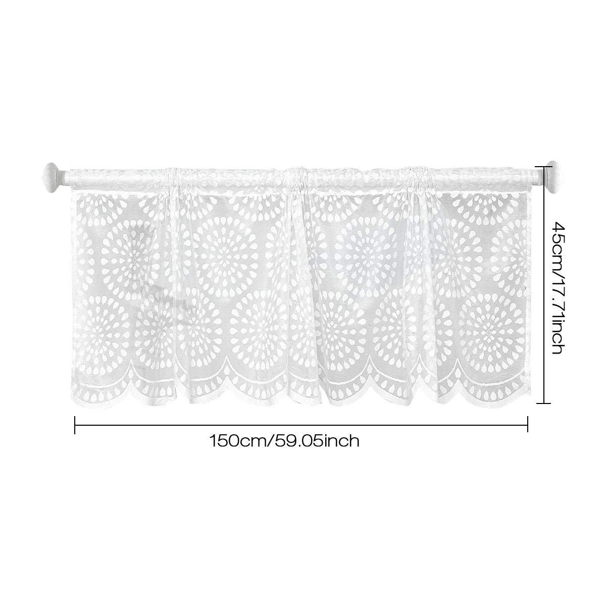 Pawaca Windows Valance Hollow Blackout Polyester Net Short Curtain For Kitchen Living Dining Room Windows Bathroom Kids Girl Baby Nursery