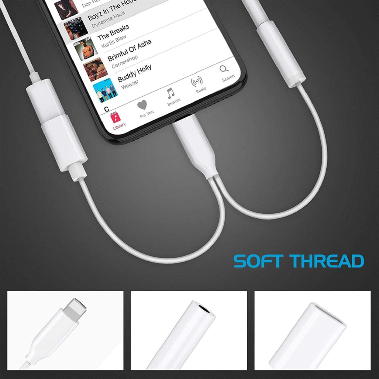 Adapter for iPhone Headphone Dual Adapter Charger Splitter 11 Aux to 3.5mm Audio for iPhone 8//8Plus//7//7Plus//X//Xs Max//XR //11 Headphones Adaptor Jack Cable /& Connector Earphones Support All iOS(White)