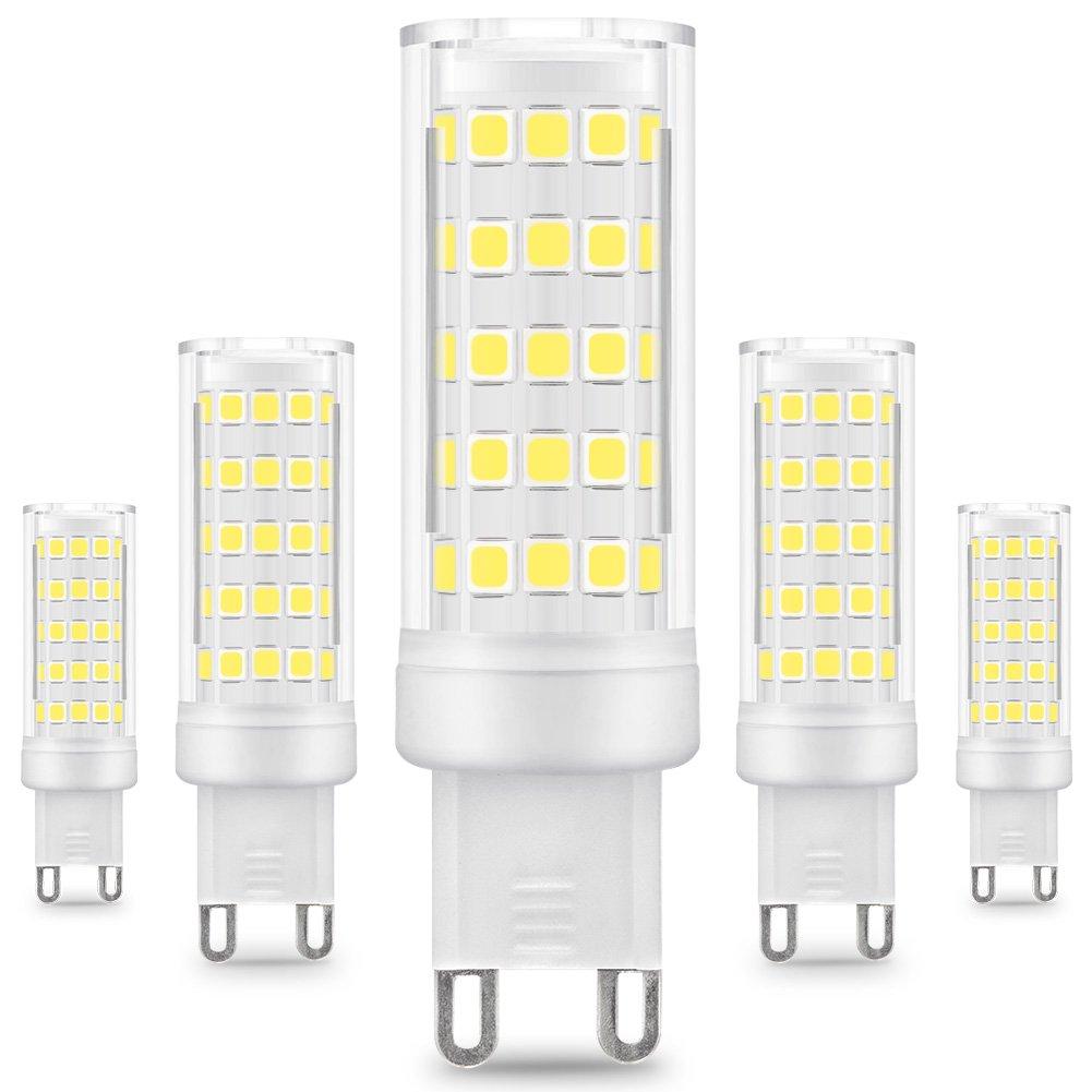 KINDEEP G9 8W LED Lampe Ersatz 75W Halogen Leuchtmittel, 650Lumen, Warmweiß 3000K, globaler 360° Abstrahlwinkel, 220-240V, 5er-Pack UK-G9-8W-WW-5P