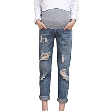 Zerototens Plus Size Pregnancy Leggings For Women,Fashion Solid Blue Maternity Loose Fit Ripped Jeans Pregnant Over The Bump Denim Trousers XL-4XL
