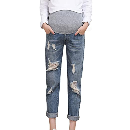 52af95627d8 Connia Maternity Plus Size Jeans Fall Winter Casual Loose Ripped Damaged  Destroyed Homewear Outwaer Trousers Pants