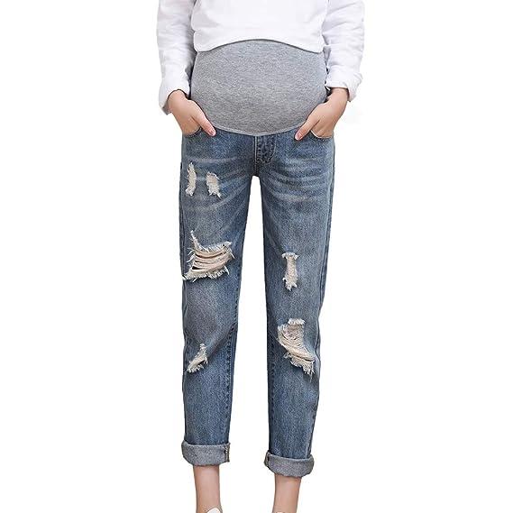 Damen Mode Hohe Taille Schwangere Mutterschaft Bequem Weiche Lang Hosen Oversize