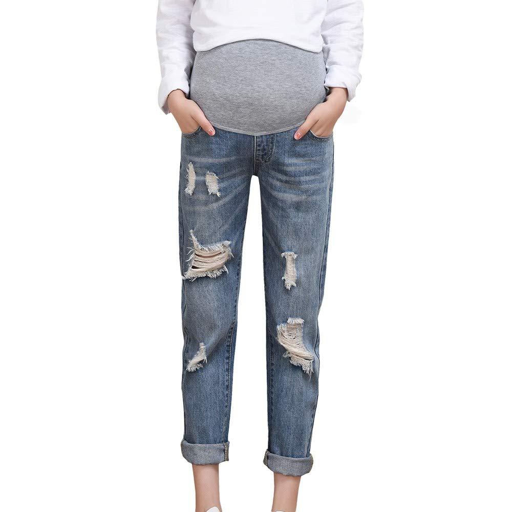 Pregnancy Pants Extendor,Pregnant Woman Ripped Jeans Maternity Pants Trousers Nursing Prop Belly Legging,Women's Tops, Tees & Blouses,Blue,XL