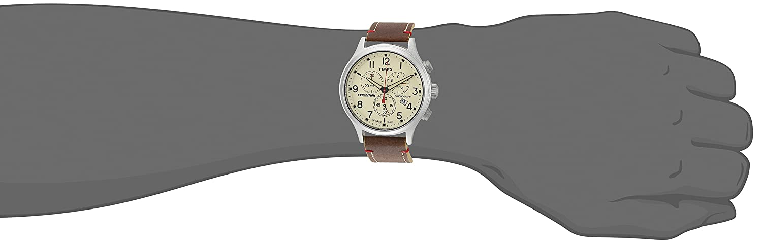 Amazon.com: Timex Mens TW4B15900 Expedition Scout Chrono Brown/Black/Blue Leather Strap Watch: Watches