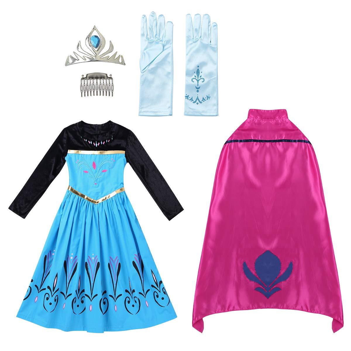 iiniim Vestido Princesa Azul Niña con Capa Diadema Guantes Tutú Infantil Fairy Tales Disfraces Reina Halloween Cosplay Costume Ceremonia Fancy Dress Accesorios para Niña Bebé