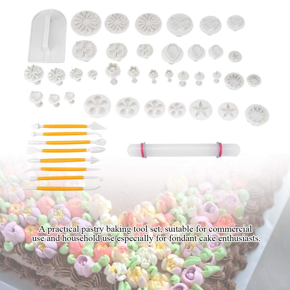 Fondant Cake Mold Decoration Baking Tool, 14 Kinds 46 Pcs Fondant Cutters Molds Cookies DIY Cake Decoration Pastry Baking Tool by Taidda (Image #2)