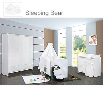 Babyzimmer weiß hochglanz  Babyzimmer Luiy Hochglanz 20-tlg. mit 3 türigem Kl. + Sleeping ...