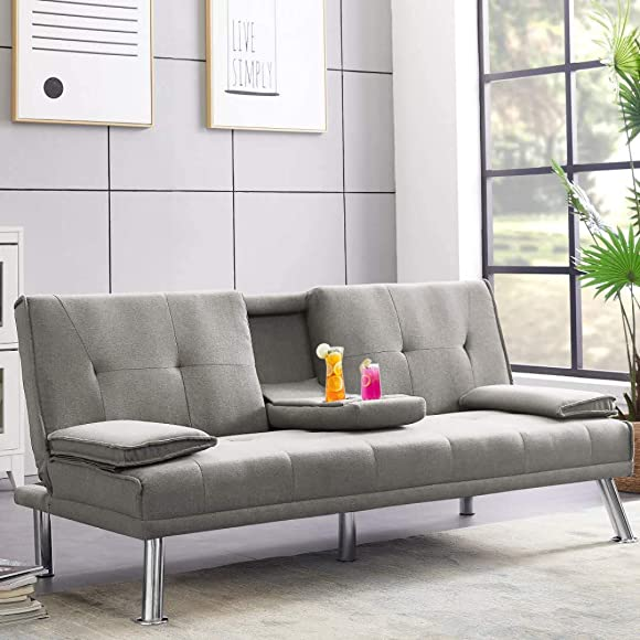 Futon Sofa Bed, Convertible Futon Sofa Sleeper Bed, Modern Faux Leather Futon Sofa Bed Recliner Couch W Armrest, Metal Legs and 2 Cup Holders for Small Spaces, 500 Lbs Weight Capacity Light Gray