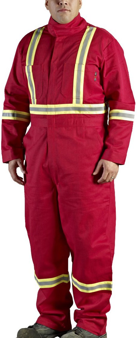 Walls Red 9-Ounce FR 88/12 Striped Coverall, HRC 2, ATPV, 12.7 cal/cm2, CGSB 155.20, CSA Z462, NFPA 2112, NFPA 70E and ASTM F1506 38L Walls FR C62045R29 38L