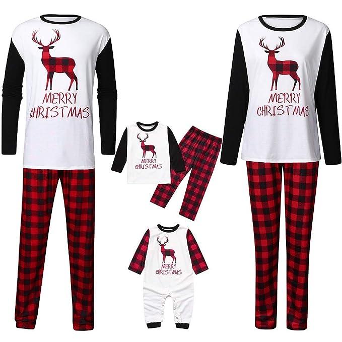Navidad POLP Pijamas Familia A Rayas Conjunto Pantalon y Top Manga ...