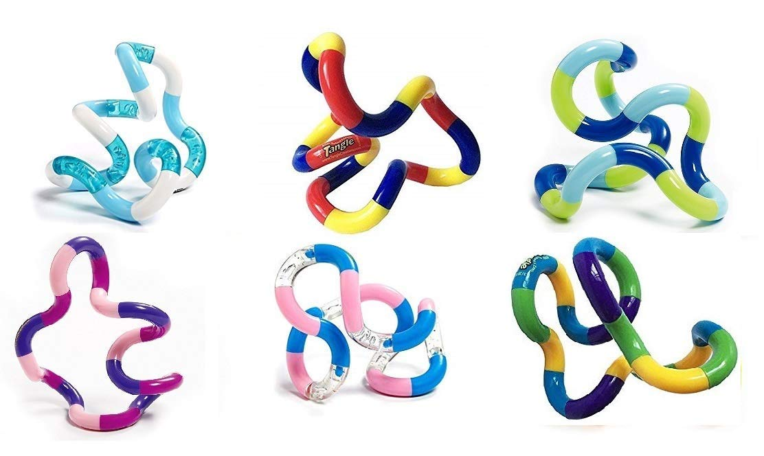 Tangle Jr. Original Classics Bulk Bundle - 6 Pack Colors As Shown by Toysmith