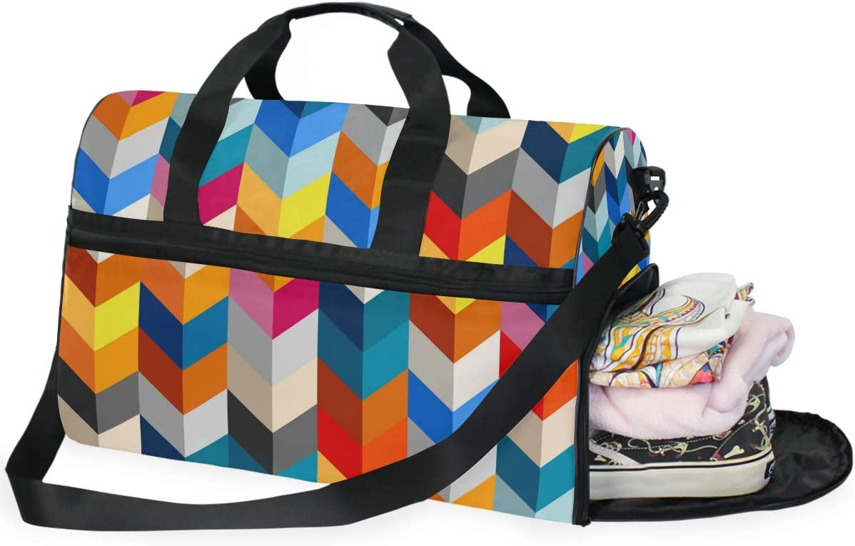 FANTAZIO Abstract Color Pattern Sports Duffle Bag Gym Bag Travel Duffel with Adjustable Strap