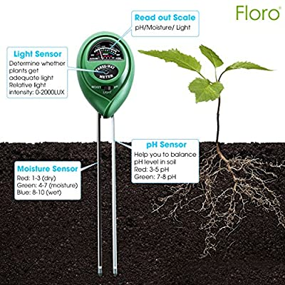 FLORO 3-in-1 Soil Tester, 11x2.4 Inches, Measures Light, Moisture and pH, Professional Gardening Tool for Farm and Kitchen Garden, No Batteries Required, Easy to Read Indicator, Indoor or Outdoor Use : Garden & Outdoor