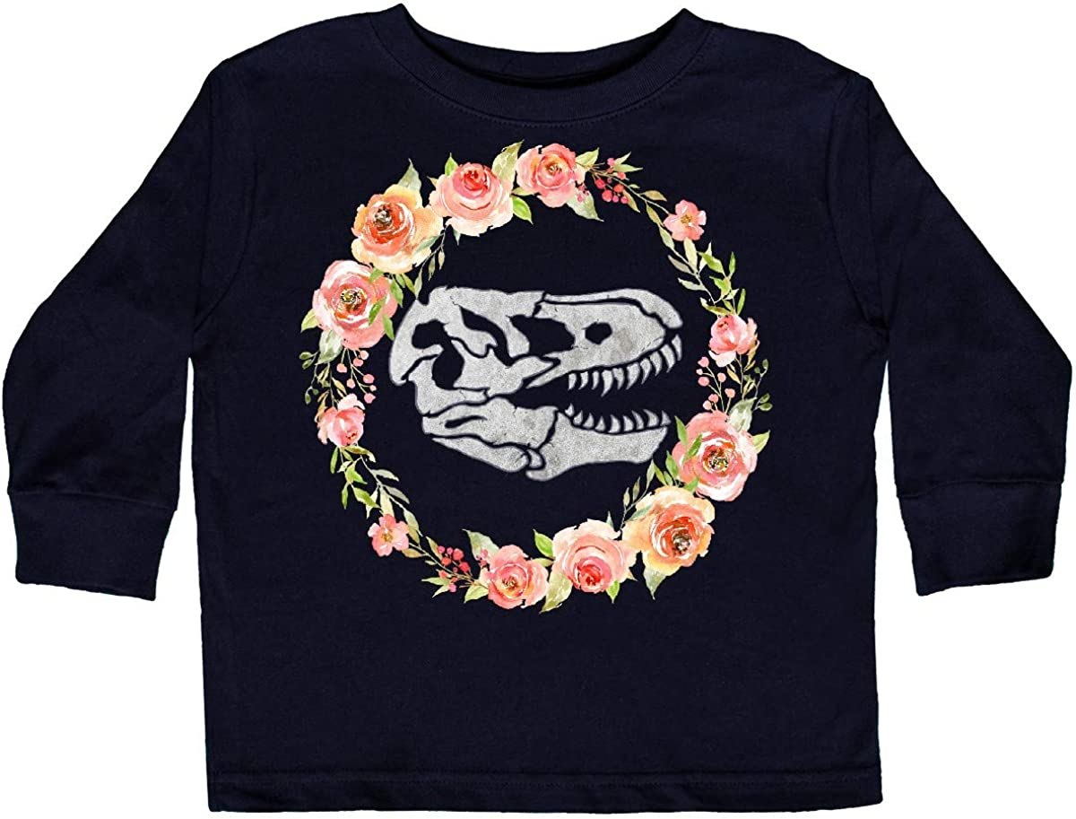 inktastic Tyrannosaurus Rex Skull with Colorful Toddler Long Sleeve T-Shirt