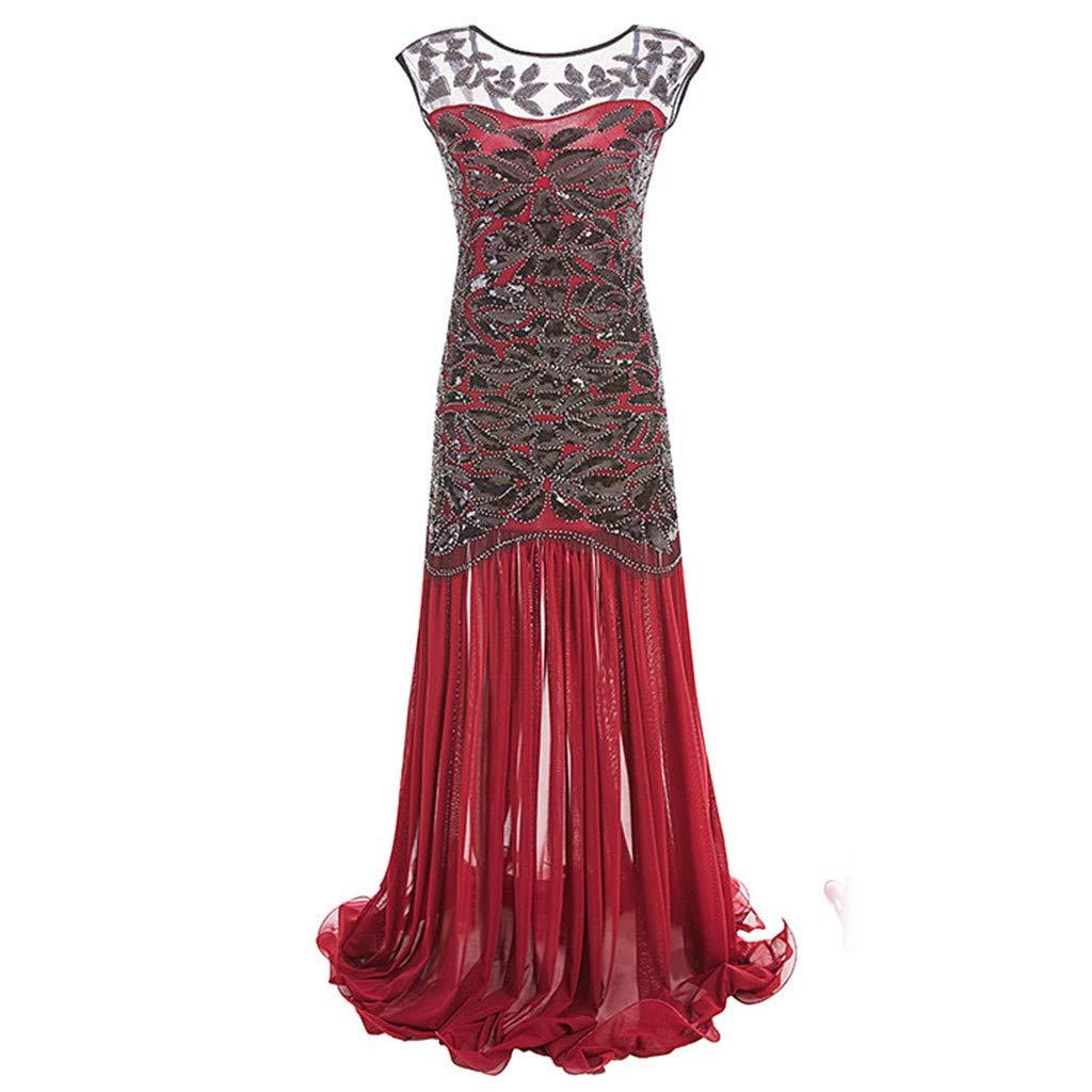 Women's Elegant Evening Dress Sequined Inspired Sequins Beads Long Tassel See-Through Vintage Dress (S, Red)