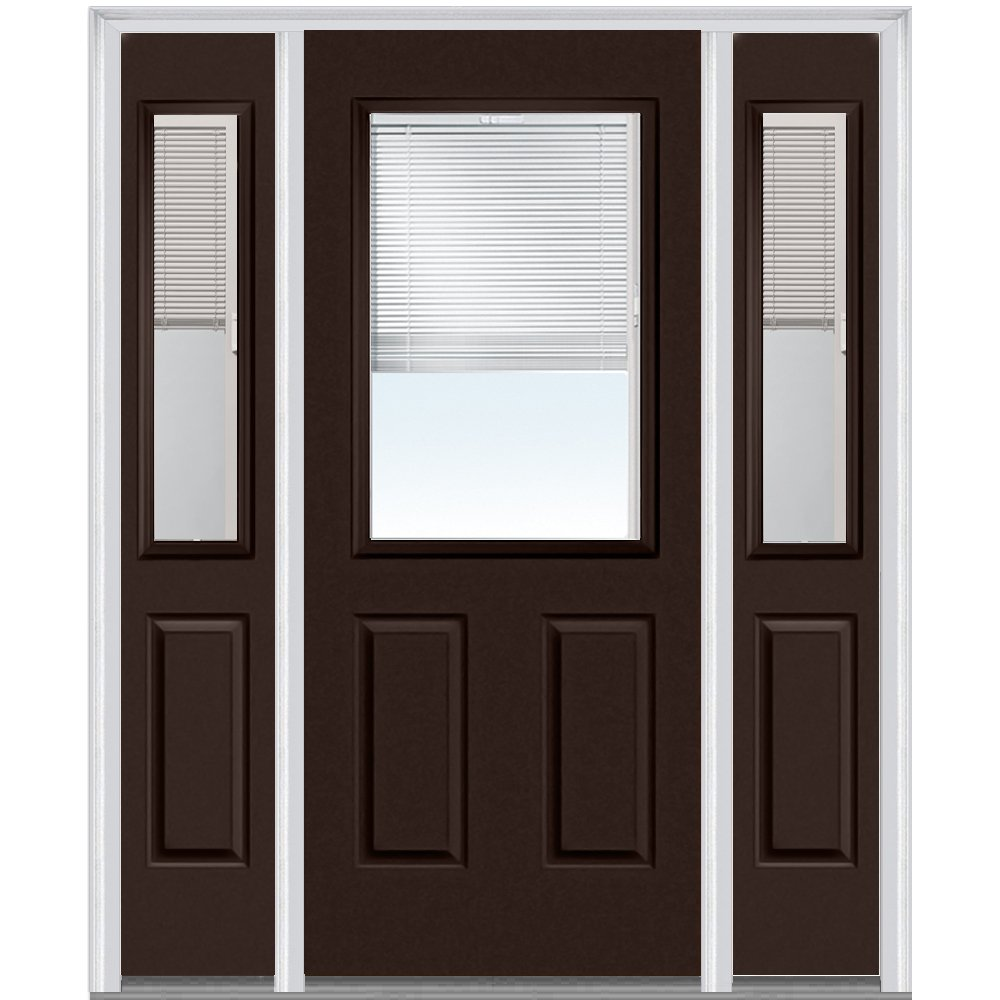 National Door Company Z010166R Steel Polished Mahogany, Right Hand In-swing, Prehung Door, 1/2 Lite 2-Panel, Clear Glass with RLB, 36'' x 80'' with 14'' Sidelites