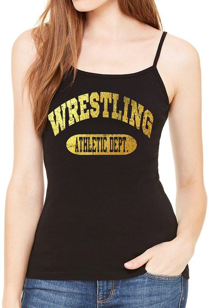 Interstate Apparel Inc Junior's Gold Foil Wrestling Athletic Dept. Black Spaghetti Strap T-Shirt X-Large Black