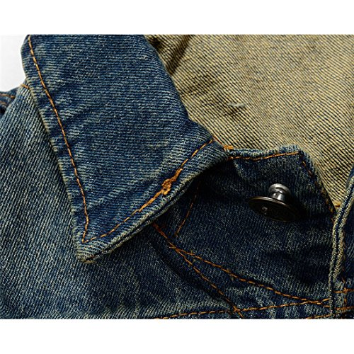 NASKY Men&Women's Fit Retro Ripped Denim Vest,Sleeveless Lapel Jean Vest and Jean Jacket,Waistcoat Top Vest Size XXX-Large