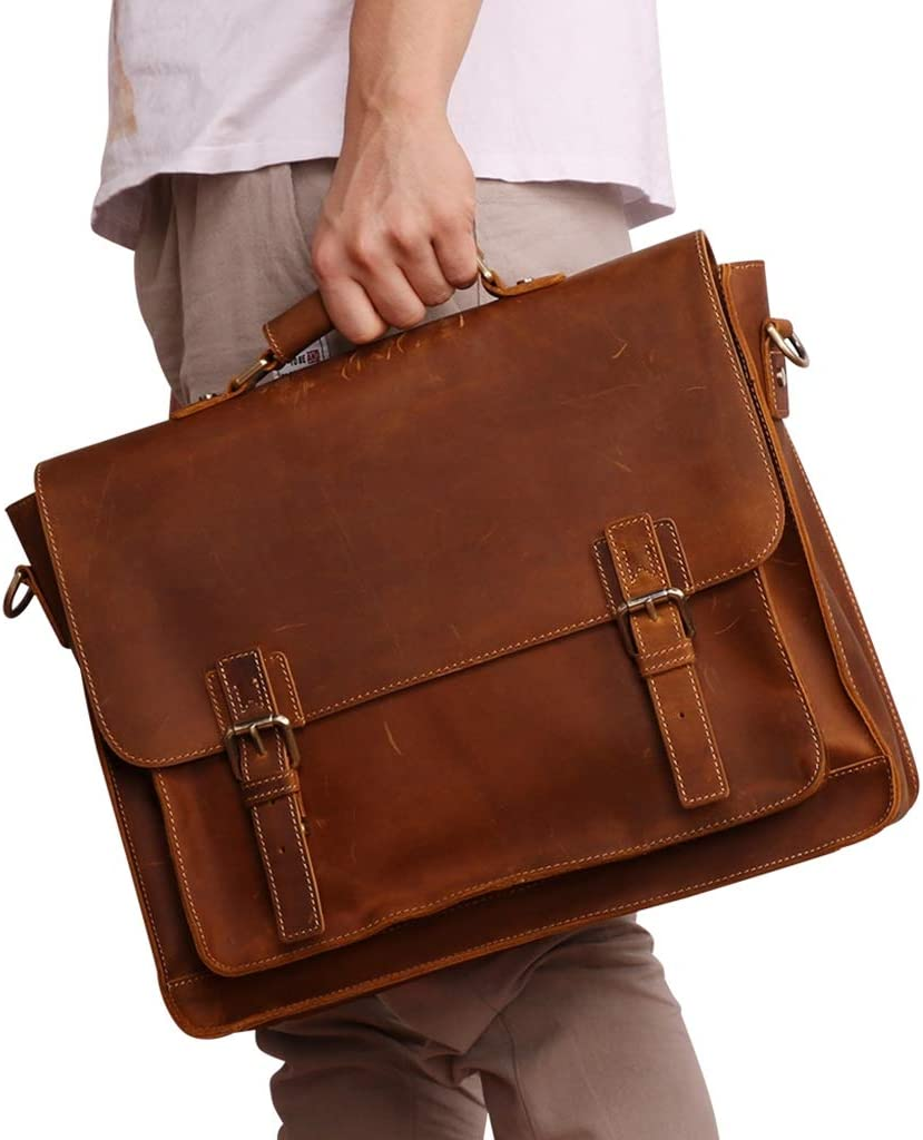 15 Laptop Tote Bag WUZHENG Mens Crazy Horse Leather Satchel Briefcase