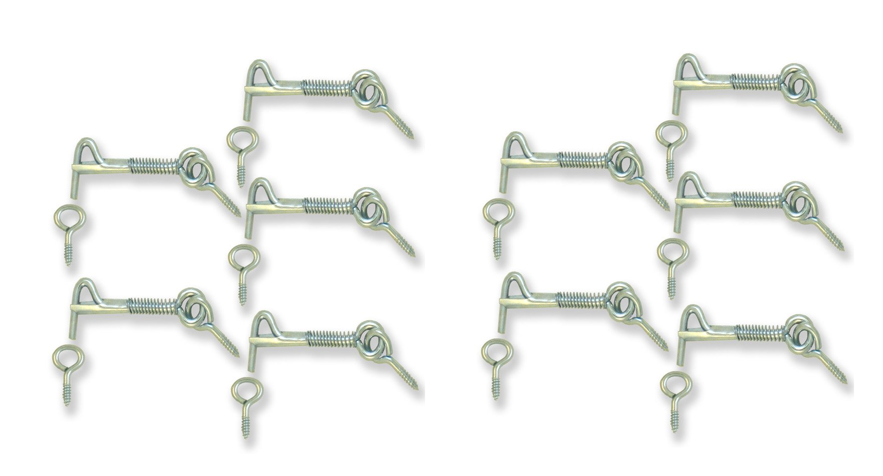 Safety Latch, Hook & Eye with Spring, Zinc, 2 Inch [1860-10] Eye distance can vary from 2.1/4'' to 2.1/2'' 10 pack ALDABA o GANCHO para Puerta