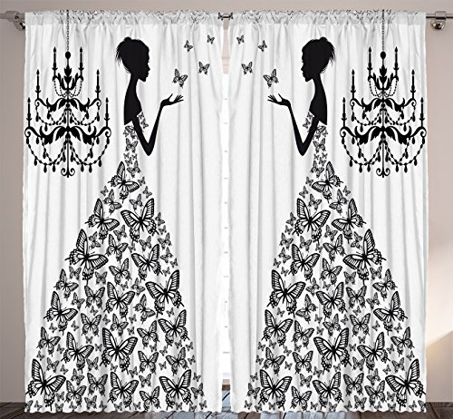 Curtains for Living Room Decor by Ambesonne Madame Butterfly Black Chandelier Princess Wedding Gown Attractive Woman Bedroom Dining Room Curtains 2 Panels Set 108 x 90 inches Black White