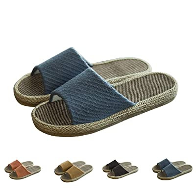 MAGILONA Women Mens Unisex Linen Washable Open-Toe Home Slippers Indoor Shoes Casual Flax Soft Non-Slip Sole Shoes | Shoes