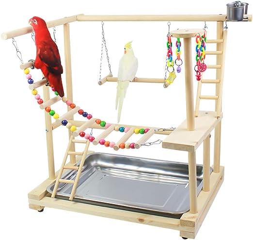 ZWW Parrot Playstand, Parque Infantil De Loro De Madera Valla De Juego Gimnasio Entrenamiento con Taza De Alimentación Escalera Columpio Campana De Juguete: Amazon.es: Hogar