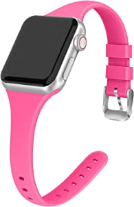 THWALK Sport Band Compatible with Apple Watch 38/40mm 42/44mm Slim Thin Narrow Silicone Replacement Strap with Stainless Steel Buckle Compatible for iWatch SE Series 6/5/4/3/2/1(Barbie Pink, 42/44mm)