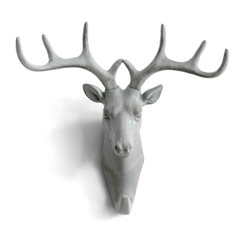 HERNGEE Deer Head Single Wall Hook/Hanger Animal Shaped Coat Hat Hook Heavy Duty, Rustic, Decorative Gift, Grey
