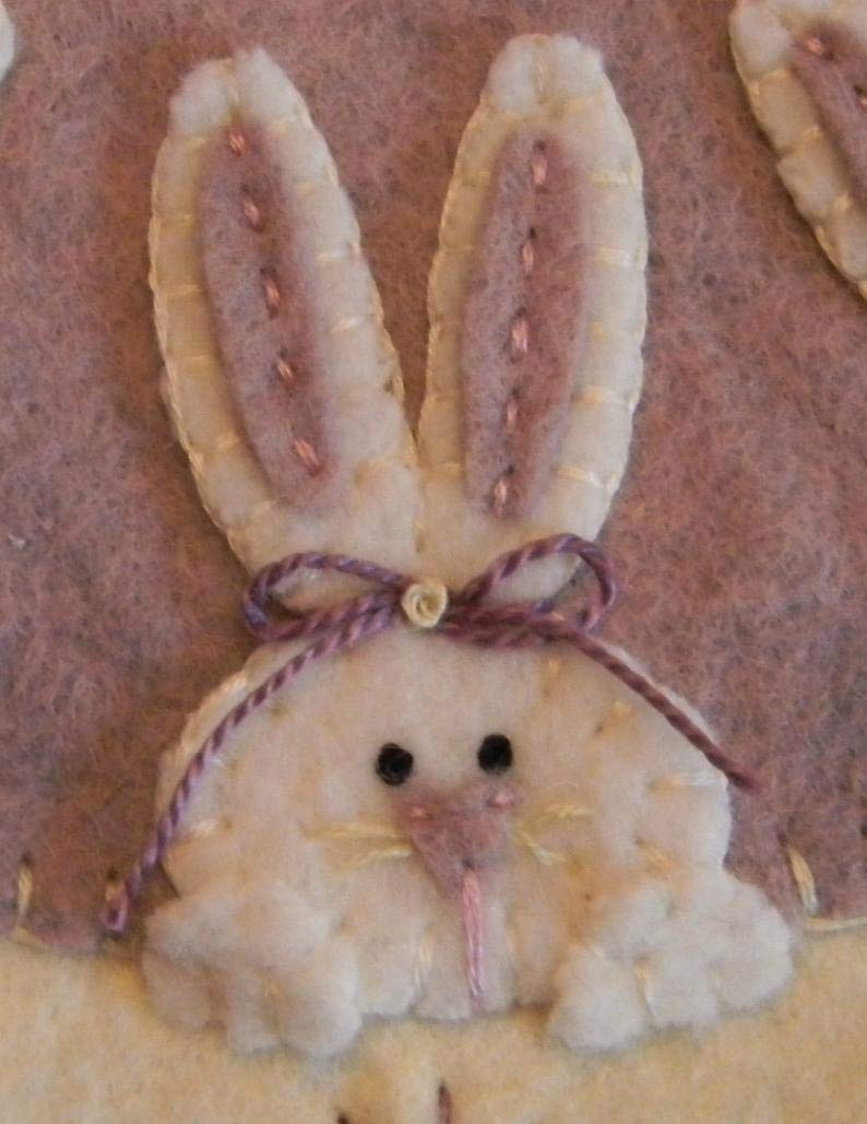 Peek A Boo Bunnies Penny Rug Kit Pre Cut and Pre Washed Applique Kit Easter Pattern