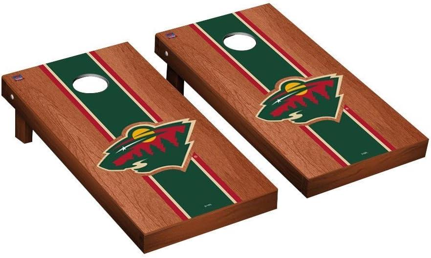 Minnesota Wild NHL Regulation Cornhole GameセットローズウッドStainedストライプバージョン