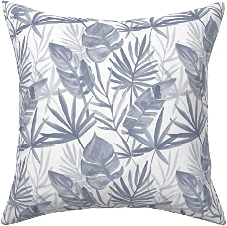 Jumbo Tropical Leaves Coastal Throw Pillow Cover w Optional Insert by Roostery