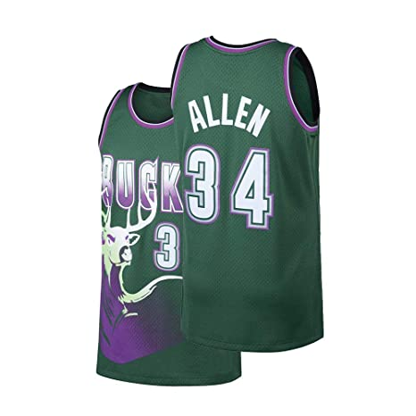 7216804ac Fhsafn Mens Allen Jersey Adult 34 Basketball Ray Milwaukee Jesus Sizes  Green (Green, Small