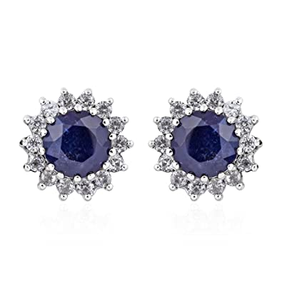 TJC Women Platinum Plated 925 Sterling Silver Sapphire and Cambodian Zircon Stud Earrings ZAMSFQ1N