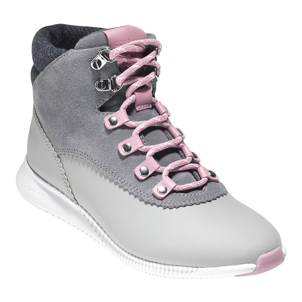 Cole Haan Women's 2 Zerogrand Waterproof Hiker Boot B076DKCP4D 5 B(M) US|Grey Leather Suede-grey Wool-optic White