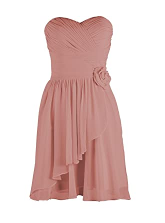 YiYaDawn Womens Short Chiffon Bridesmaid Prom Dress for Teenagers Size 20 UK Blush Pink