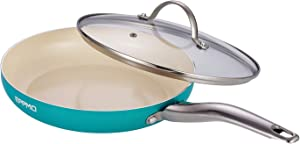 EPPMO 12 Inch Nonstick Frying Pan With Stainless Steel Handle,Ceramic Fry Pan With Lid, Open Aluminum Skillet Induction Compatible
