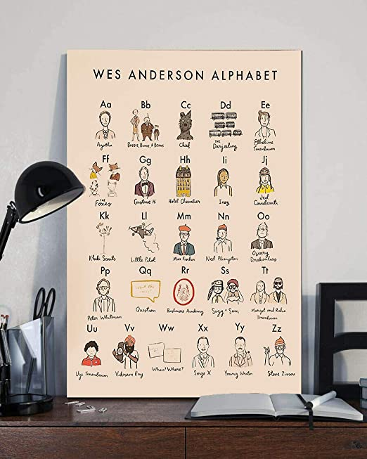 BILANA Wes Anderson Alphabet Poster,Wall Art, Home Decor, Moonrise Kingdom, Grand Budapest, Royal Tenenbaums, Isle of Dogs, Darjeeling, Fantastic Mr. Fox, Movie Art