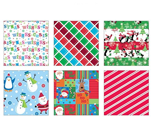 36' Santa (Premium Christmas Gift Wrap Juvenile Wrapping Paper Bulk for Boys, Girls, Kids 6 Different 36 ft X 30 in Rolls Included Xmas Penguin, Snowman)
