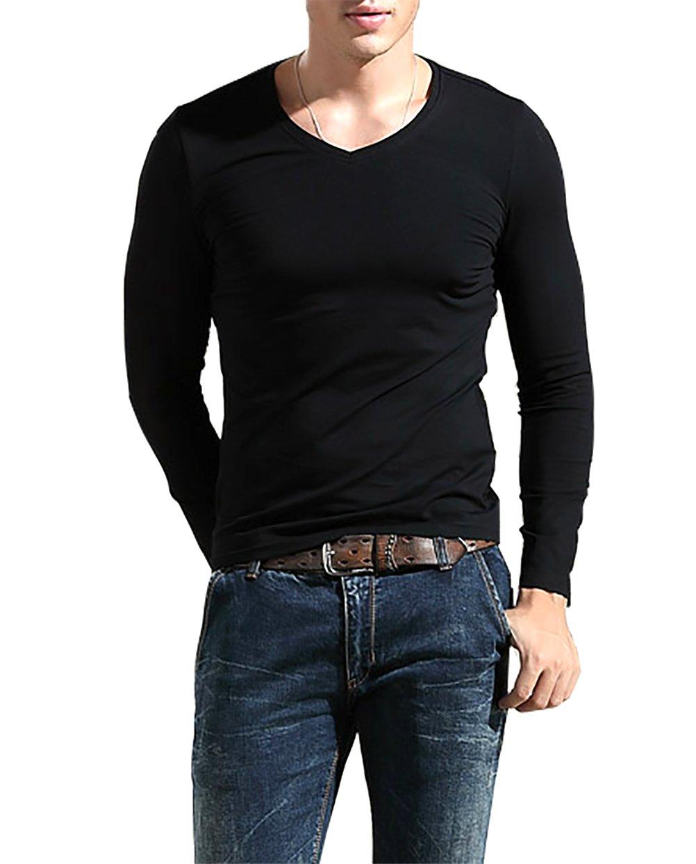 Amoretu Mens V-Neck Long Sleeve Cotton T-Shirt Casual Tops Black Medium