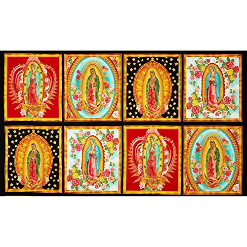 Robert Kaufman Inner Faith Metallic Mary Statues Bright 24in Panel Multi Fabric,