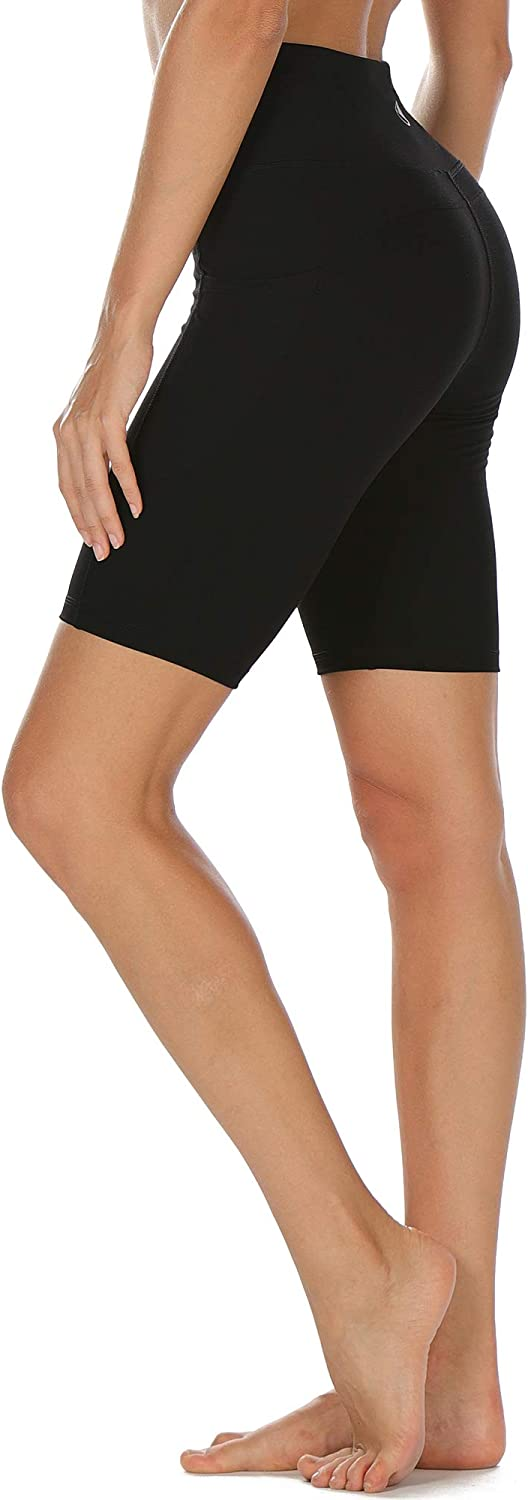 High Waist Workout Running Yoga Exercise Gym Shorts with Pockets icyzone Athletic Shorts for Women