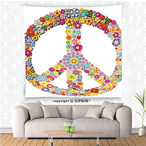 VROSELV custom tapestry Groovy Decorations Collection Floral Peace Sign Summer Spring Blooms Love Happiness Themed Illustration Print Bedroom Living Room Dorm Wall Hanging Tapestry - York Spring Street 7 New