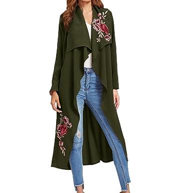 3bdf2b4998 Kolylong® Strickjacke damen Frauen Elegante Stickerei Mantel Lange Vintage  Windbreaker Herbst Locker Jacke Mode Outwear