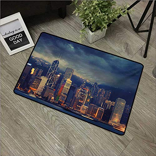 Anzhutwelve Cityscape,Anti-Slip Doormat Hong Kong Cityscape Stormy Weather Dark Cloudy Sky Waterfront Port Dramatic View W 16