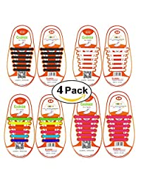 Shackcom No Tie Shoelaces for Men, Women&Kids-Elastic Tieless Shoelaces Adults Sports - Flat Waterproof Stretchy Silicone Shoe Laces with Multicolor for Causual Shoes and Athletic Running Shoes-Eliminate Loose Shoelace Accidents